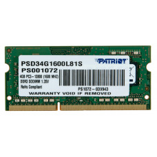 Модуль памяти  Patriot PSD34G1600L81S Patriot SODIMM DDR3 4 ГБ 1600 МГц Для ноутбука 1